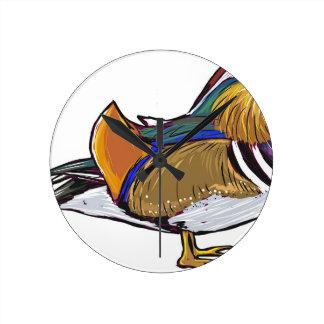 Mandarin Duck Sketch Round Clock