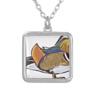 Mandarin Duck Sketch Silver Plated Necklace