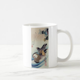 Mandarin Duck Woodcut Classic White Coffee Mug