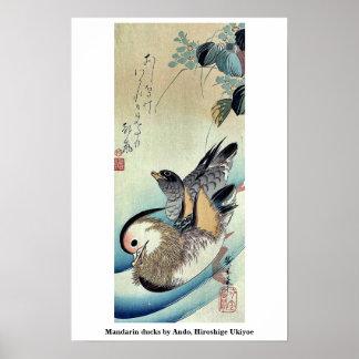 Mandarin ducks by Ando, Hiroshige Ukiyoe Poster