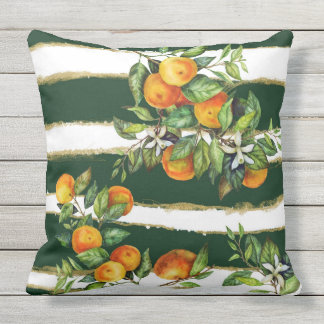 Mandarin On Green Stripes Outdoor Pillow