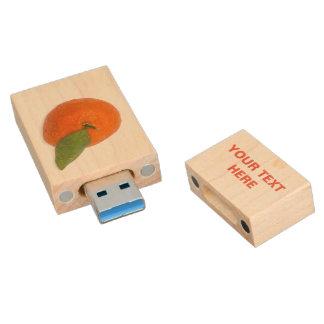 Mandarin with green leaf wood USB flash drive