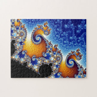 Mandelbrot Blue Double Spiral Fractal Jigsaw Puzzle