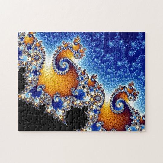 Mandelbrot Blue Double Spiral Fractal Jigsaw Puzzle