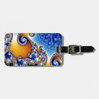 Mandelbrot Blue Double Spiral Fractal Luggage Tag