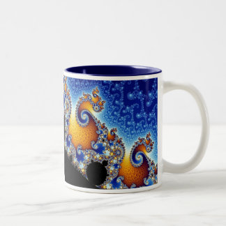 Mandelbrot Blue Double Spiral Fractal Two-Tone Coffee Mug