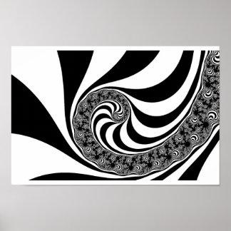 Mandelbrot Zebra Spiral Poster