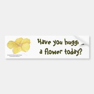 """Mandevilla """"hugged a flower?"""" bumper sticker"""