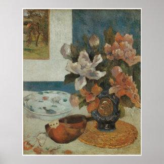 Mandolin and Flowers 1885 Print