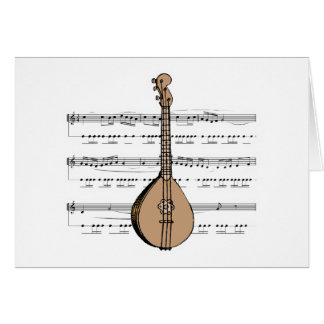 mandolin lute and sheet music card
