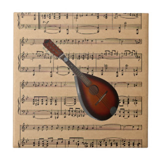 Mandolin With Sheet Music Background Tile