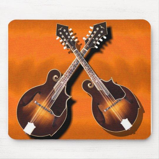 mandolins crossed on orange -MOUSEPAD Mouse Pad