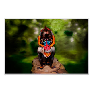 Mandrill Bodypainting Illusion Poster