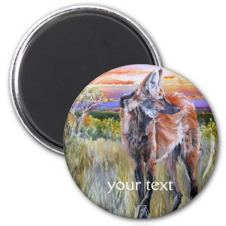 Maned Wolf Watercolor Art Magnet