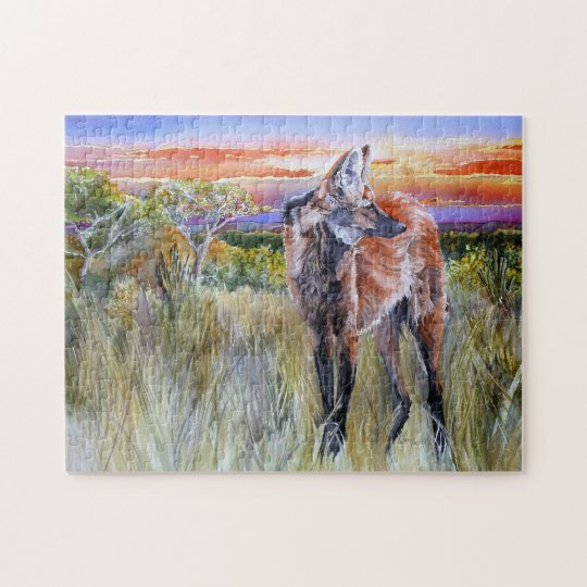 Maned Wolf Watercolor Art Puzzle