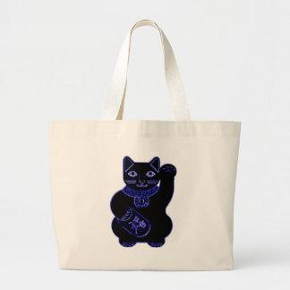 maneki neko blue neon large tote bag