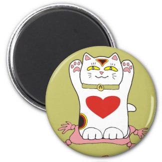Maneki Neko Calico Cat with Hearts Magnet