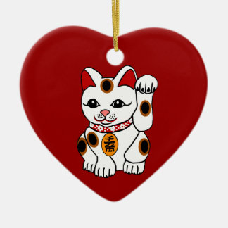 Maneki Neko Cat on Red Background Ceramic Ornament
