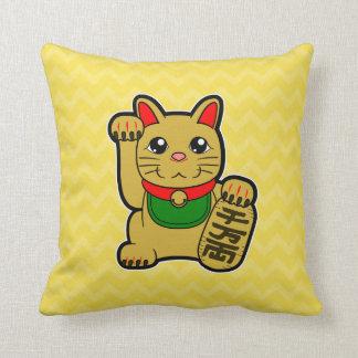 Maneki Neko: Golden Lucky Cat Reversible Throw Pillow