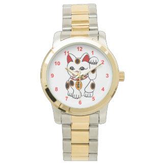 Maneki Neko Japanese Bobtail Calico Cat Watches