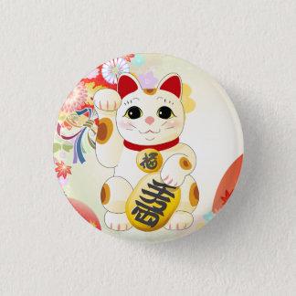 Maneki Neko Japanese Fortune Cat 1 Inch Round Button