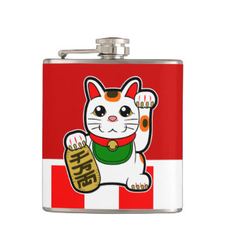 Maneki Neko: Japanese Lucky Cat Hip Flask