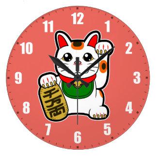 Maneki Neko: Japanese Lucky Cat Large Clock