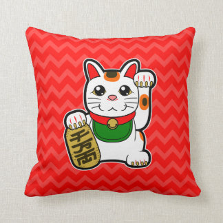 Maneki Neko: Japanese Lucky Cat Reversible Throw Pillow