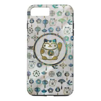 Maneki Neko Lucky cat on  pearl and abalone iPhone 8 Plus/7 Plus Case