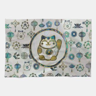 Maneki Neko Lucky cat on  pearl and abalone Kitchen Towel