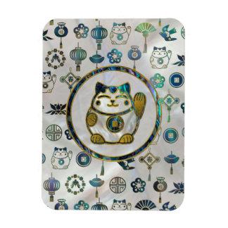 Maneki Neko Lucky cat on  pearl and abalone Magnet