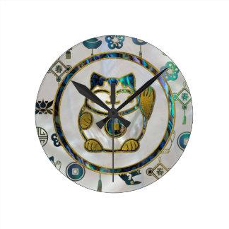 Maneki Neko Lucky cat on  pearl and abalone Round Clock