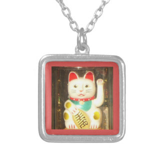 Maneki-neko, Lucky cat, Winkekatze Silver Plated Necklace
