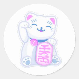 maneki neko pastel classic round sticker