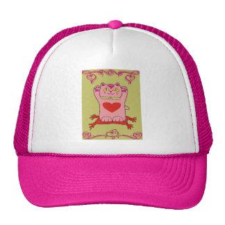 Maneki Neko Pink Cat with Hearts Hat