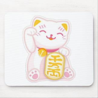 maneki neko pink mouse pad