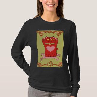 Maneki Neko Red Cat with Hearts T-Shirt