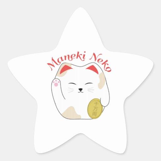 Maneki Neko Star Sticker
