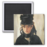 Manet | Berthe Morisot with a Bouquet of Violets Square Magnet
