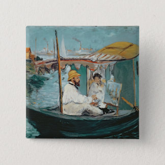 Manet | Monet in his Floating Studio, 1874 2 Inch Square Button