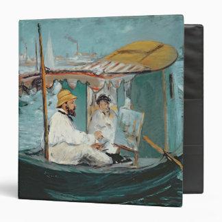 Manet   Monet in his Floating Studio, 1874 3 Ring Binders