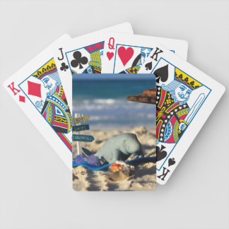 Manfred the Manatee at the Beach Bicycle Playing Cards