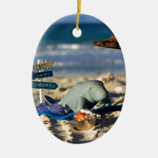 Manfred the Manatee at the Beach Ceramic Ornament