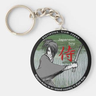 MANGA boy SAMURAI rose Keychain