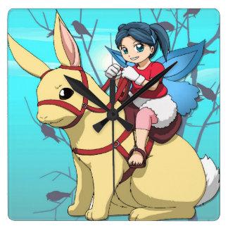 Manga fairy, rabbit and rider wallclock