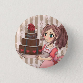 Manga girl with chocolate cake - button