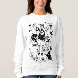 manga kawaii black and white sweatshirt