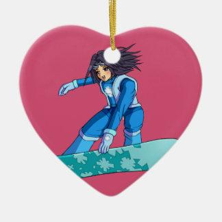 Manga Snowboarder Girl Ceramic Ornament