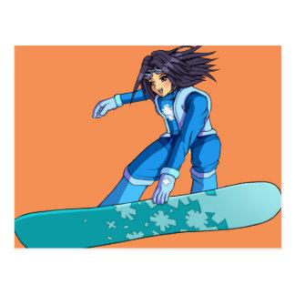 Manga Snowboarder Girl Postcard