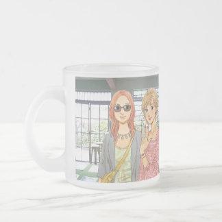 manga_women frosted glass coffee mug